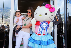 Hello Kitty, guest of the Sahara Force India F1 Team, with Gabriela Tarkanyi, wife of Pastor Maldonado, Lotus F1 Team, and daughter Victoria