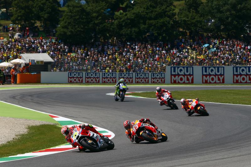 Andrea Iannone, Ducati Team; Marc Marquez und Dani Pedrosa, Repsol Honda Team; Andrea Dovizioso, Ducati Team, und Valentino Rossi, Yamaha Factory Racing