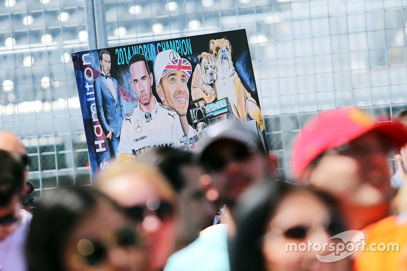 A banner for Lewis Hamilton, Mercedes AMG F1