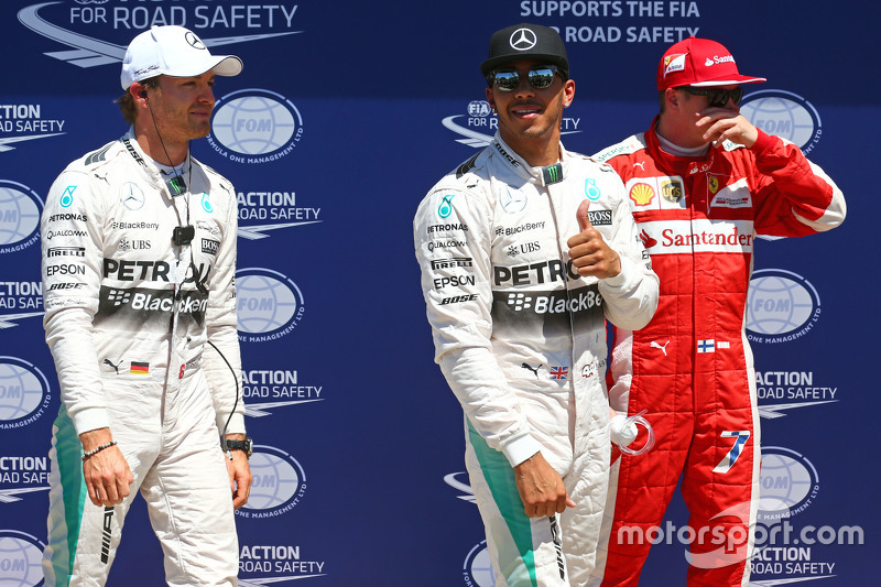 Qualifying top three in parc ferme, Nico Rosberg, Mercedes F1, pole sitter Lewis Hamilton, Mercedes F1 and third place Kimi Raikkonen, Ferrari