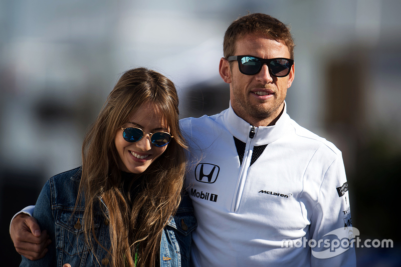 Jenson Button, McLaren with his wife Jessica Button