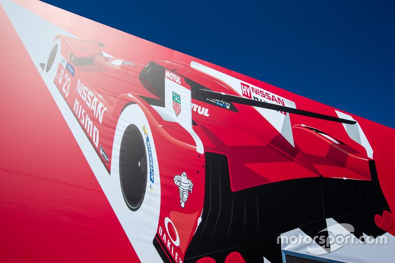 Nissan Motorsports transporter and logo / signage