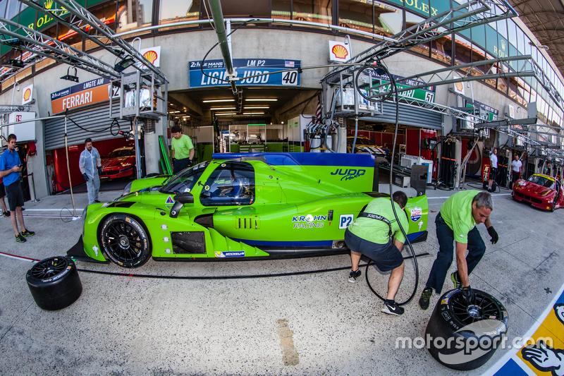 Pit stop practice for #40 Krohn Racing Ligier JS P3