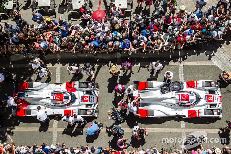 #8 Audi Sport Team Joest, Audi R18 e-tron quattro und #9 Audi Sport Team Joest, Audi R18 e-tron quattro