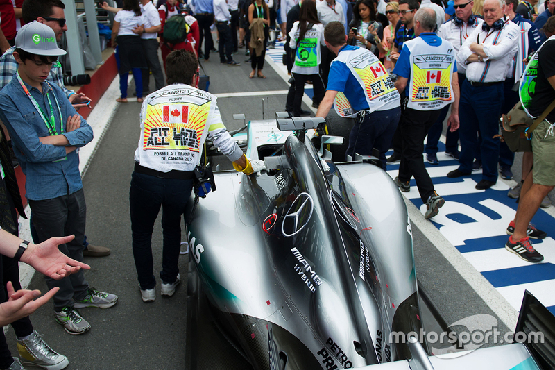 The Mercedes AMG F1 W06 of Lewis Hamilton, Mercedes AMG F1 W06 leaves parc ferme