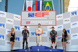 Подиум: Ю Канамару, RACE, второй, Константин Терещенко, Campos, победитель, и Витор Батиста, RP Motorsport, третий