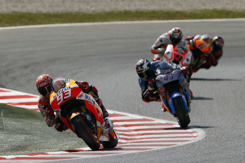Marc Marquez, Repsol Honda Team; Scott Redding, Marc VDS Racing, Honda; Danilo Petrucci, Pramac Raci