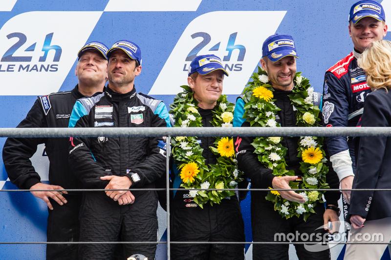 LMGT Am podium: second place #77 Dempsey Proton Competition Porsche 911 RSR: Patrick Dempsey, Patric