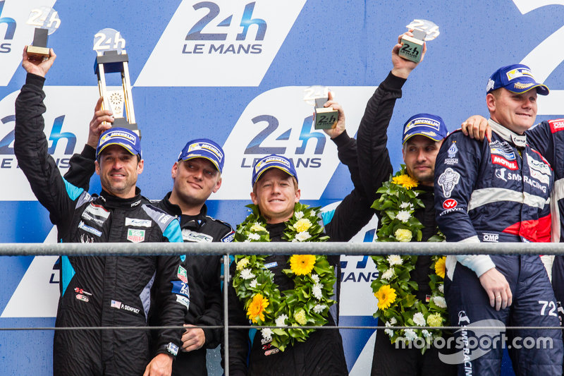 LMGT Am podium: second place #77 Dempsey Proton Competition Porsche 911 RSR: Patrick Dempsey, Patrick Long, Marco Seefried