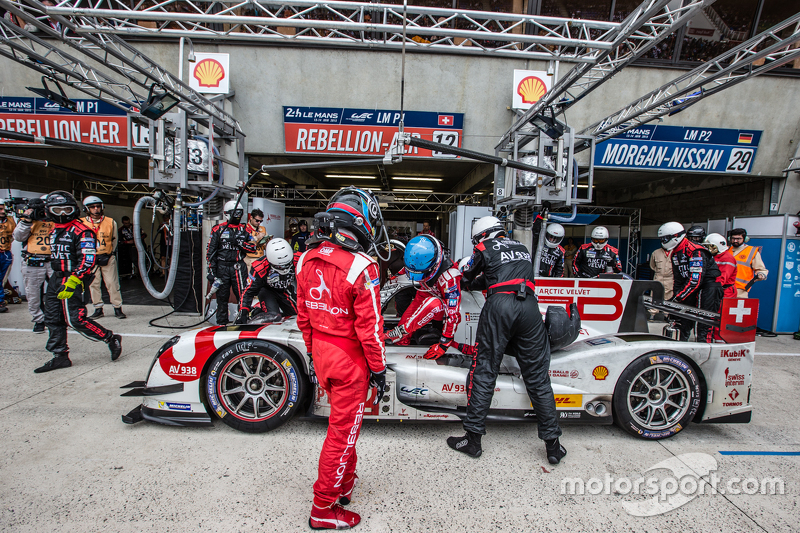 Pit stop for #12 Rebellion Racing Rebellion R-One: Nicolas Prost, Nick Heidfeld, Mathias Beche