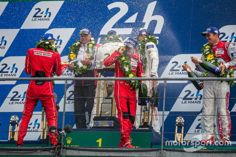 LMP1 podium celebrate with champagne