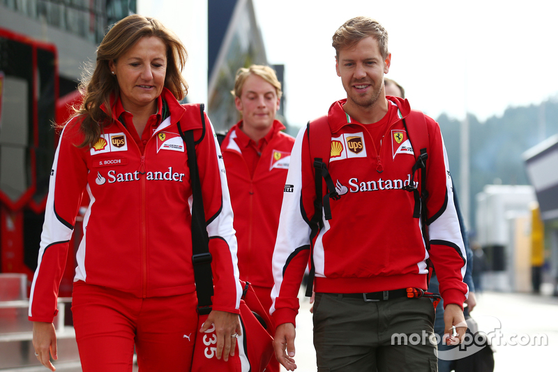 Stefania Bocchi, Ferrari Press Officer with Sebastian Vettel, Ferrari