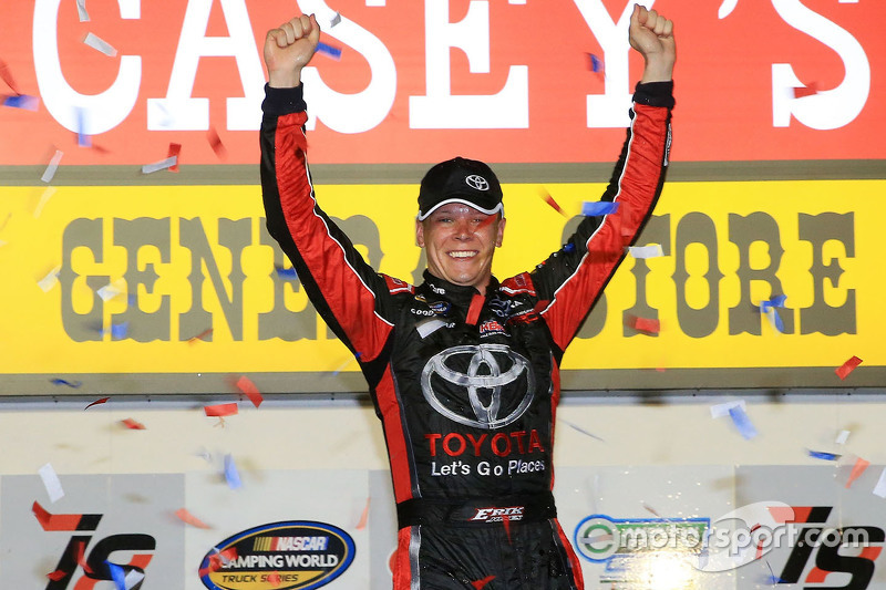 Race winner Erik Jones, Kyle Busch Motorsports Toyota celebrates