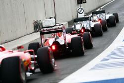 Nico Rosberg, Mercedes AMG F1 W06; Lewis Hamilton, Mercedes AMG F1 W06; Sebastian Vettel, Ferrari SF