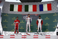 Podium: Race winner Luca Ghiotto, Trident celebrates his win on the podium with second place Antonio Fuoco, Carlin and third place Esteban Ocon, ART Grand Prix