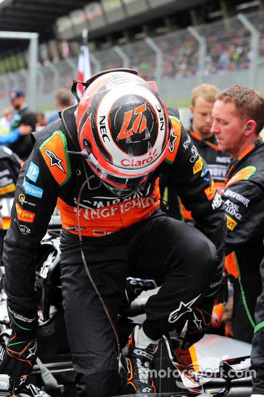 Nico Hulkenberg, Sahara Force India F1 VJM08 op de startopstelling