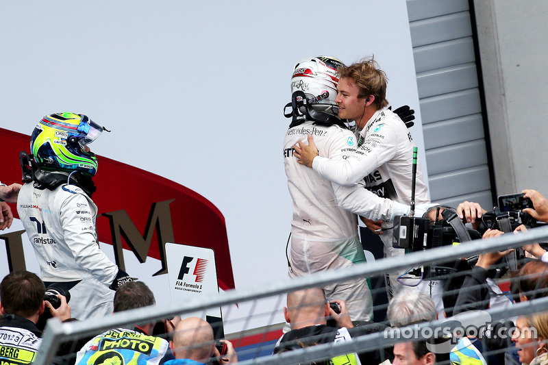 Race winner Nico Rosberg, second place Lewis Hamilton, third place Felipe Massa