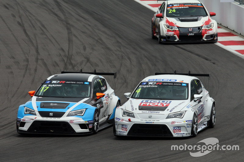 Michel Nykjaer, SEAT Leon, Target Competition; Tomas Engström, SEAT Leon, Liqui Moly Team Engstler, und Kevin Gleason, Honda Civic TCR, West Coast Racing