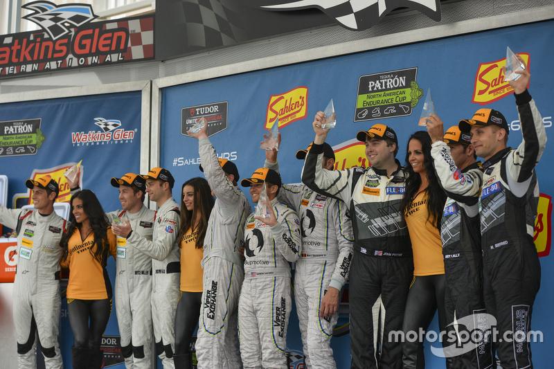 GTD Podium: Race winners #93 Riley Motorsports Dodge Viper SRT: Al Carter, Cameron Lawrence, Marc Go
