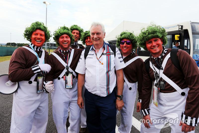 Pat Symonds, Williams, Leiter Technik, mit Oompa-Loompa-Fans