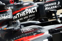 McLaren MP4-30s of Fernando Alonso, McLaren and Jenson Button, McLaren
