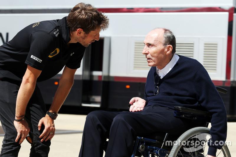 Romain Grosjean, Lotus F1 Team with Frank Williams, Williams Team Owner