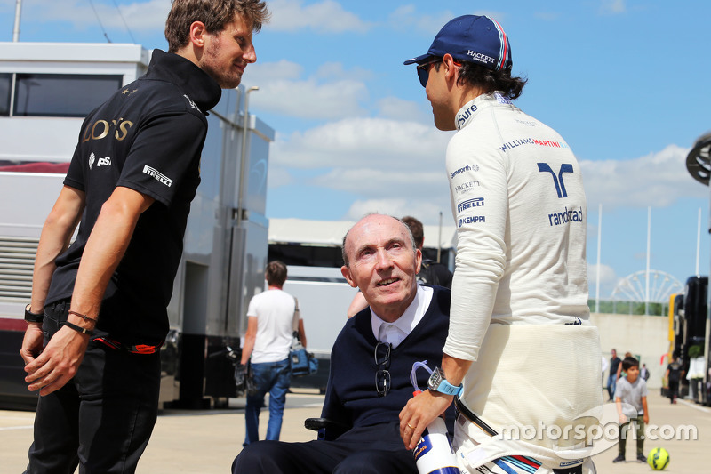 Romain Grosjean, de Lotus F1 Team con Frank Williams, propietario del equipo Williams y Felipe Massa, Williams