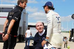 Romain Grosjean, Lotus F1 Team with Frank Williams, Williams Team Owner and Felipe Massa, Williams