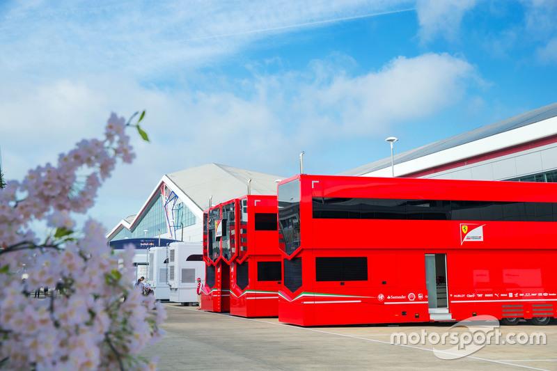 Ferrari trucks in the paddock