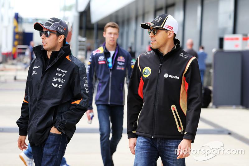 Sergio Perez, Sahara Force India F1, mit Pastor Maldonado, Lotus F1 Team