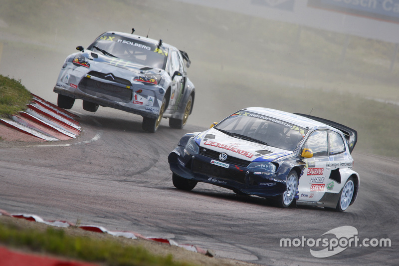 Johan Kristoffersson, Volkswagen Team Sweden Polo R WRX and Petter Solberg, SDRX Citroën DS3