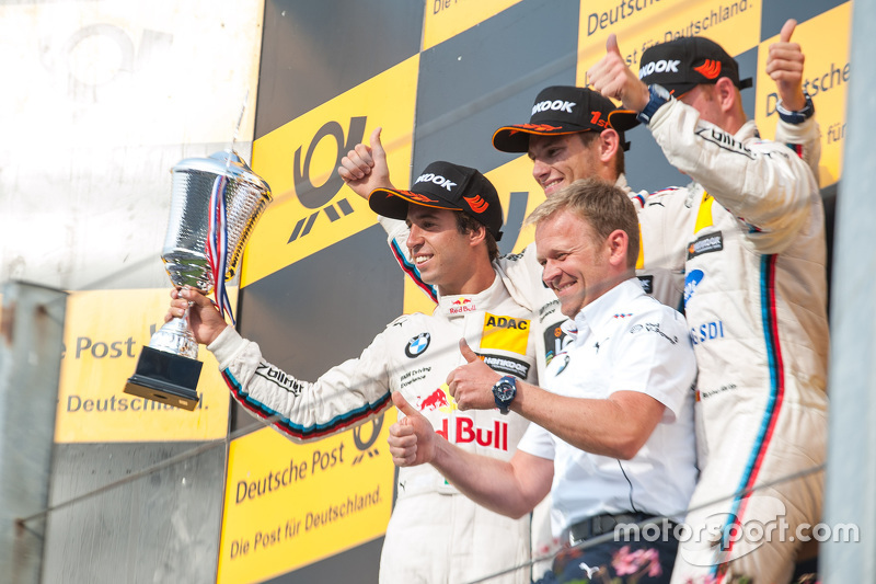 Podium: second place Antonio Felix da Costa, BMW Team Schnitzer BMW M4 DTM and winner Marco Wittmann and third place Maxime Martin, BMW Team RMG BMW M4 DTM Marco