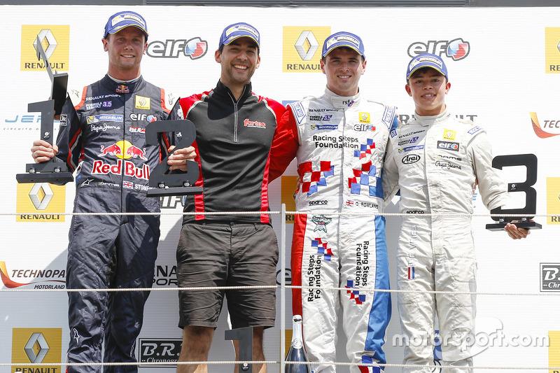 Podium: race winner Oliver Rowland, Fortec Motorsports, second place Dean Stoneman, DAMS, third plac