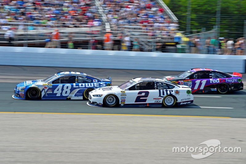 Jimmie Johnson, Hendrick Motorsports Chevrolet, Brad Keselowski, Team Penske Ford and Denny Hamlin,