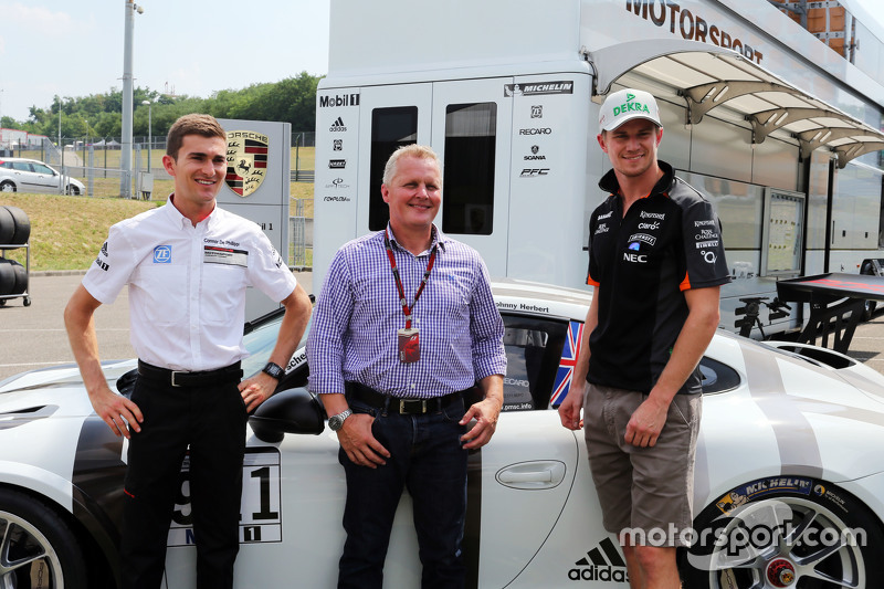 Connor De Phillippi, Porsche Junior Driver with Johnny Herbert, Sky Sports F1 Presenter and Nico Hulkenberg, Sahara Force India F1