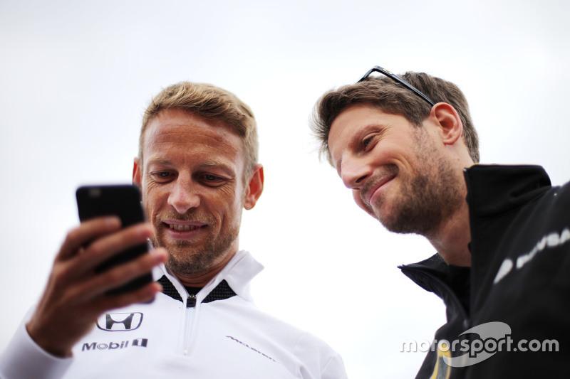 Jenson Button, McLaren Honda and Romain Grosjean, Lotus F1 Team