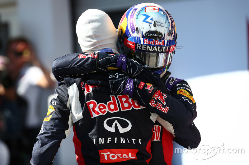 Second place Daniil Kvyat and third place Daniel Ricciardo, Red Bull Racing