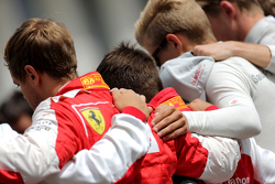 Drivers during the minute of silence for Jules Bianchi, Sebastian Vettel, Scuderia Ferrari