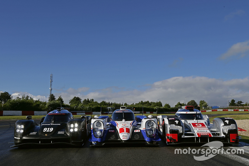 Porsche Team 919 Hybrid, Toyota Racing TS040 Hybrid, Audi Sport Team Joest R18 e-tron quattro