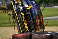 Safety crews work after a hard crash #35 Phoenix American Motorsports Ford Mustang Boss 302: Presto