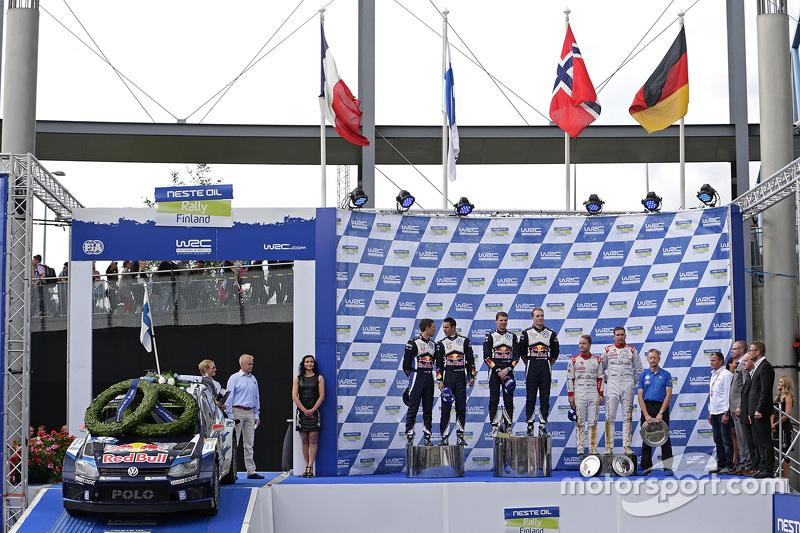 Podium: winners Jari-Matti Latvala and Miikka Anttila, Volkswagen Motorsport, second place Sébastien