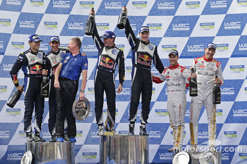 Podium: winners Jari-Matti Latvala and Miikka Anttila, Volkswagen Motorsport, second place Sébastien Ogier and Julien Ingrassia, Volkswagen Motorsport, third place Mads Ostberg and Jonas Andersson, Citroën World Rally Team