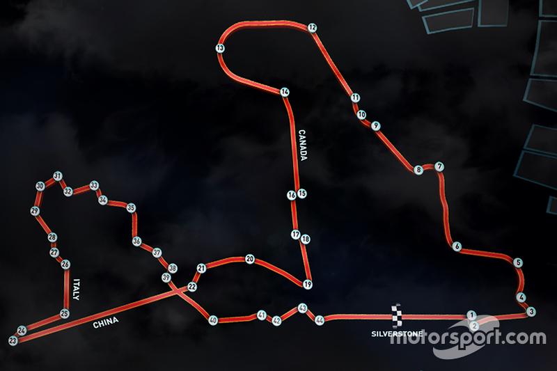 Мартін Брандл та ultimate Scalextric circuit - diagram featuring straights та corners from 2015 F1 c