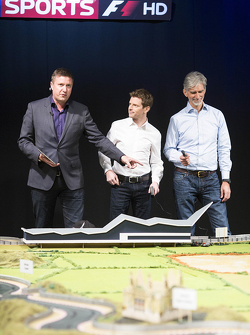 Martin Brundle's ultimate Scalextric circuit presented by Sky Sports commentators Anthony Davidson, dan Damon Hill