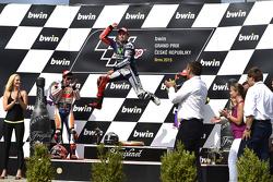 Ganador: Jorge Lorenzo, Yamaha Factory Racing, segundo lugar, Marc Marquez, Repsol Honda Team y tercer lugar, Valentino Rossi, Yamaha Factory Racing
