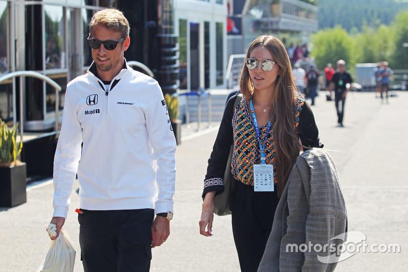 Jenson Button, McLaren bersama his wife Jessica Button,