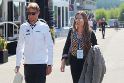 Jenson Button, McLaren with his wife Jessica Button,
