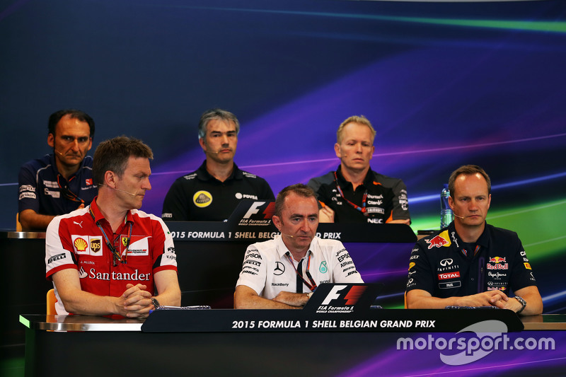 FIA Press Conference,): Giampaolo Dall'Ara, Sauber F1 Team Head of Track Engineering; Nick Chester, Lotus F1 Team Technical Director; Andrew Green, Sahara Force India F1 Team Technical Director; James Allison, Ferrari Chassis Technical Director; Paddy Lowe, Mercedes AMG F1 Executive Director,; Paul Monaghan, Red Bull Racing Chief Engineer.