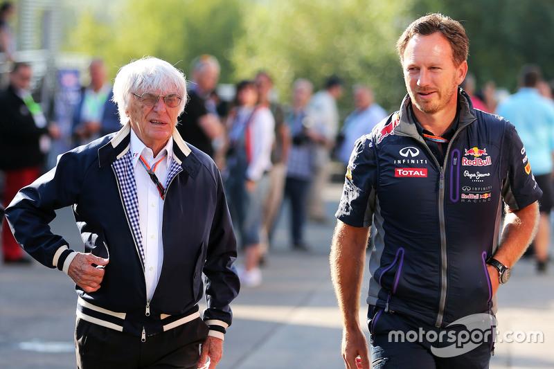 (Kiri ke Kanan): Bernie Ecclestone, dengan Christian Horner, Red Bull Racing Team Principal