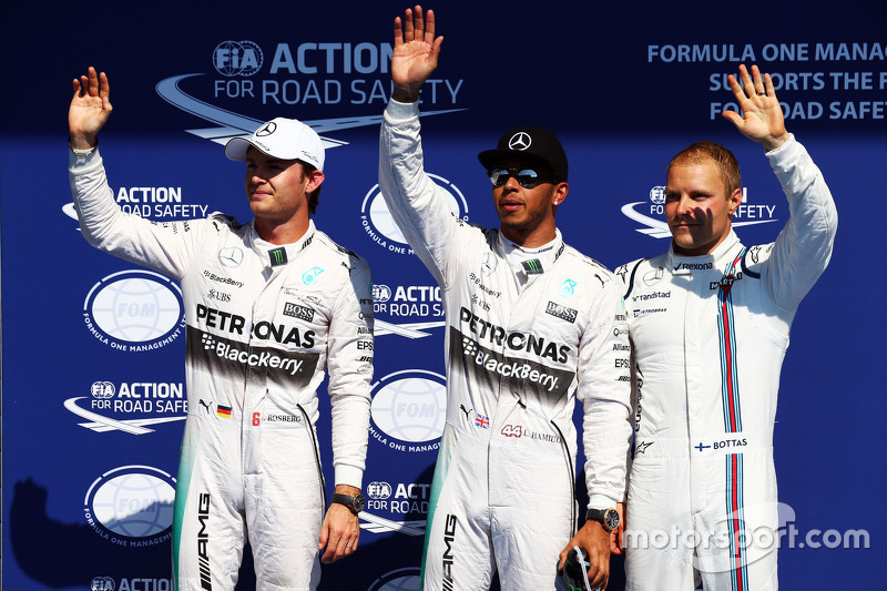 Qualifying: second place Nico Rosberg and polesitter Lewis Hamilton, Mercedes AMG F1 and third place Valtteri Bottas, Williams